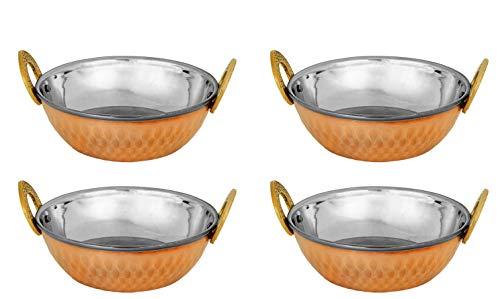 Zap Impex Indische Servierschale Kupfer gehämmert Edelstahl Karahi indische Gerichte und Curry klein (15 cm) 4er Set