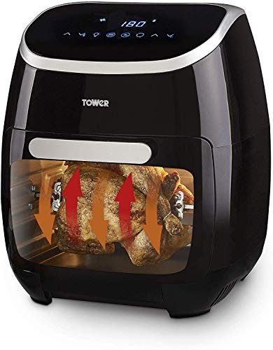 Tower T17039 Digital Air Fryer Oven, 11 Litre, Digital Display with 60 Minute Timer, Healthy Rotisserie Function, Oil Free Cooking, Rapid Air Circulation System, VORTX Frying Technology, Black