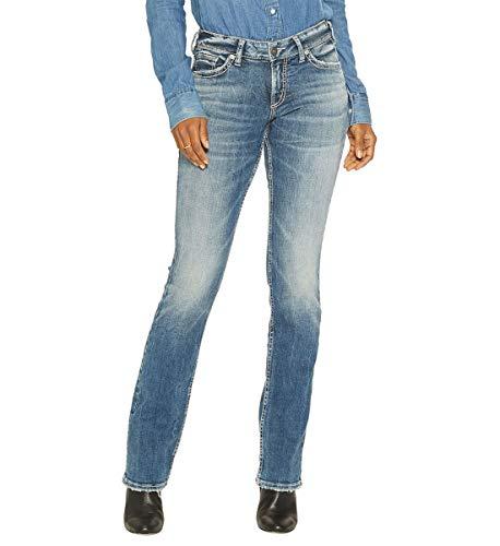 Silver Jeans Co. Damen Suki Curvy Fit Mid Rise Slim Bootcut Jeans, Medium Vintage, 28W x 31L