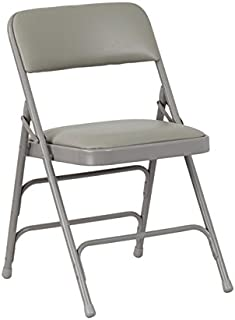 Flash Furniture 4 Pk. HERCULES Series Curved Triple Braced & Double Hinged Gray Vinyl Metal Folding Chair
