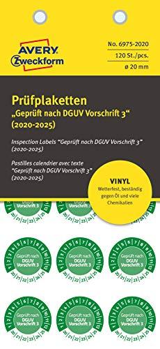 AVERY Zweckform 6975-2020 widerstandsfähige Prüfplaketten 2020-2025 (stark selbstklebend, Ø 20 mm, 120 Aufkleber auf 10 Blatt, handbeschriftbare Vinyl-Klebefolie zur Inventarkennzeichnung) grün
