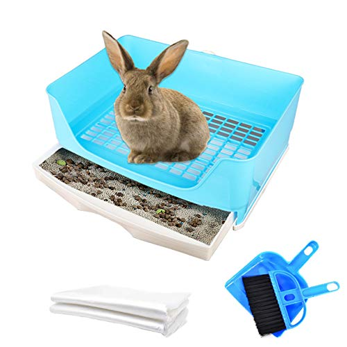 Extra Large Rabbit Litter Box, Pet Potty Corner Toilet Bigger Pan for Adult Bunny Guinea Pig Chinchilla Ferret (Blue)