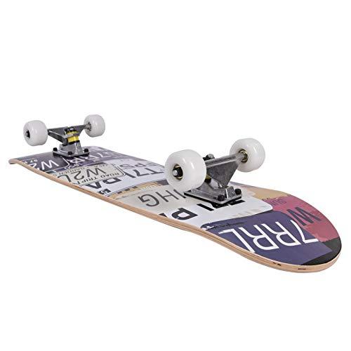 Skateboard,Skateboard Komplett Board Funboard 80x20cm Mit 9-lagigem Ahornholz Und ABEC-7 Kugellager 31.5 X 8 Zoll, Für Kinder, Jugendliche Und Erwachsene,Eislaufstraße, Skatepark, Rampe