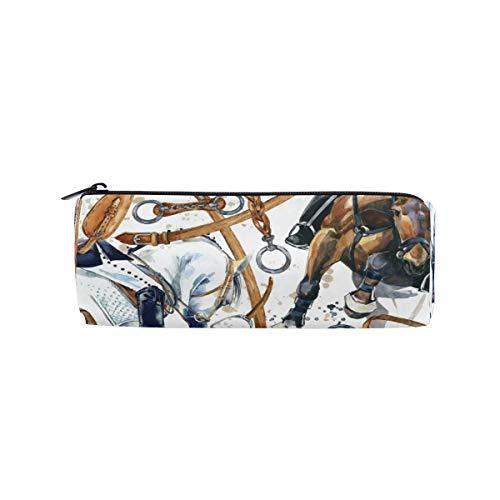 Bolsa de lápiz de sillín de caballo con cremallera de gran capacidad para bolígrafos Estudiantes Papelería Cosméticos Bolsa de maquillaje