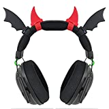 Black Bat Wings+ Red Demon Horns for Headphones,Headsets Attachment, Headsets& Devil Oni Ogre Coseplay Props,Twitch Streamer Gamer Girl Accessories,Universal Fits for Most of Gaming Headphone