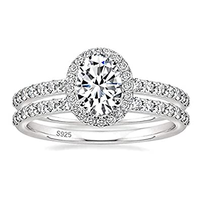 EAMTI 1.25CT 925 Sterling Silver Cubic Zirconia Bridal Rings Sets Oval Cut CZ Engagement Rings Wedding Band for Women Size 10