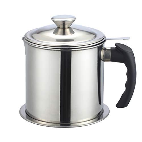 Portasgrassi in acciaio inox 304, contenitore per grasso per pancetta, con coperchio rimovibile e vassoio antipolvere, 1,2 l, colore: argento