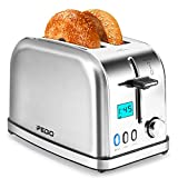 Toasters 2 Slice Toaster Best Rated Prime Toaster LCD Timer Display Compact Stainless Steel Toaster with 7 Bread Shade Settings, Bagel/Defrost/Cancel Function, Removable Crumb Tray