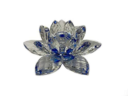 Flor de loto de cristal para el día de San Valentín – I Love You – de WWW.Vienna-Fashion.at – Viena Austria – Vitrina decorativa (501) (azul, pequeña)