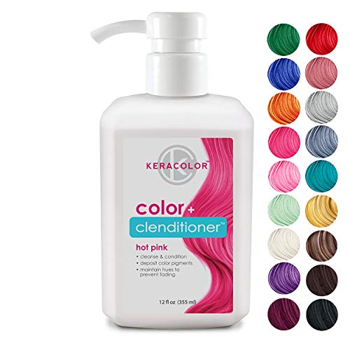 Keracolor Clenditioner Color Depositing Conditioner Colorwash, Hot Pink, 12 fl oz