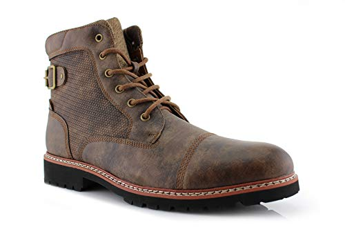 Polar Fox McConnell MPX806329 Men Motorcycle Boots Tactical Buckle High-Top Combat Minimalist Boots Brown