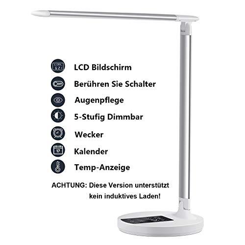 LED Schreibtischlampe Kinder Schreibtischlampe Tageslichtlampe Dimmbare Lampe 5 Farbstufen, augenschonende LED, Speicherfunktion, USB Ladeanschluss, Energieeffizient