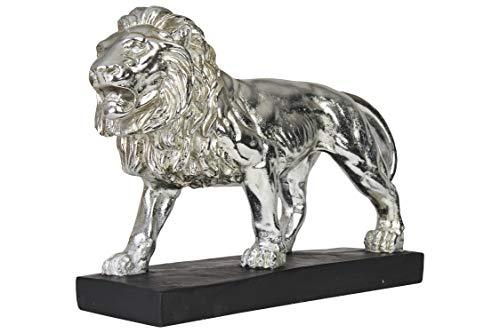 Hansmeier® Deko Skulptur Löwe | Silber | Für Außen und Innen | 43 x 28 x 13 cm | Deko Statue Flur