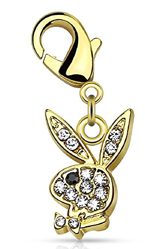 CZ Paved Playboy Bunny with Lobster Claw for Belly rings, Bracelets and More Charm