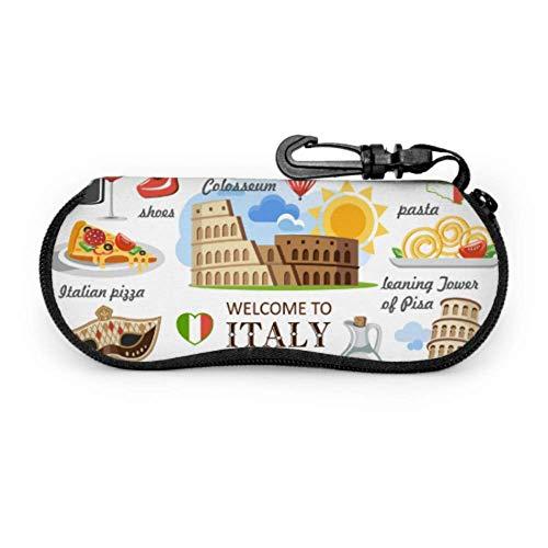 AEMAPE Italia símbolo hitos torre inclinada estuche de anteojos fino y suave estuche para gafas de sol para hombre Estuche ligero con cremallera portátil estuche blando para gafas