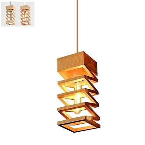 Lámpara colgante de madera linterna LED geométrica ajustable de una sola cabeza candelabro de pasillo de restaurante E27 lámpara colgante rústica japonesa iluminación de bombilla Edison