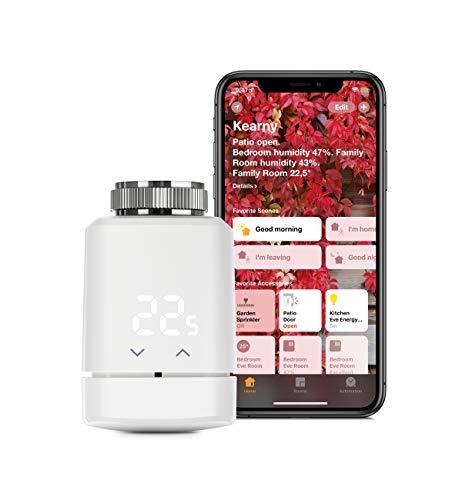 Eve Thermo - Vanne de radiateur intelligente avec afficheur LED, contrôle automatique de la température, sans passerelle, commandes tactiles intégrées, Bluetooth, Apple HomeKit, fabriqué en Allemagne
