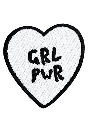 likalla Herz Aufnäher/Aufbügler GRL PWR, weiß und schwarz gestickt. Freches Girl Power (iron-on) Patch zum Aufbügeln.