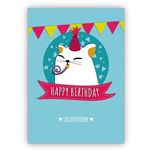 Grappige verjaardagskaart met hart en schattige partykat: Happy Birthday laat je vieren • om verjaardag te feliciteren met envelop zakelijk & privé 1 Grußkarte