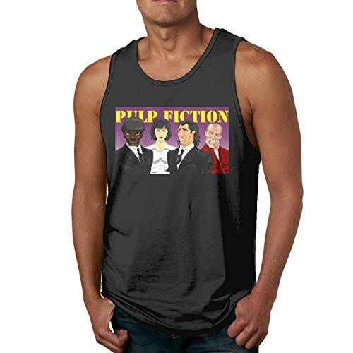 DJNGN Camiseta de algodón para Hombre Gym Fitness Singlet Vest Pulp Fiction Cartoon Camiseta sin Mangas sin Mangas