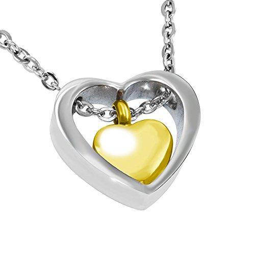 Oro Corazón en corazón (acero inoxidable 316L) de acero de