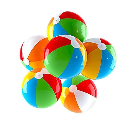 Ousyaah 6 Piezas Pelota de Playa, Pelota Hinchable para Regalo de Cumpleaños Playa Fiesta en la Piscina, Juguete de Baño para Niños Adultos, Ø 32 cm