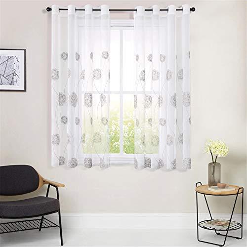 MRTREES Voile Vorhänge halbtransparent Vorhang kurz im Blumen Stickerei Modernen Wohnstil Sheer Gardinen Grau 145×140cm (H × B) für Wohnzimmer Schlafzimmer Kinderzimmer 2er- Set