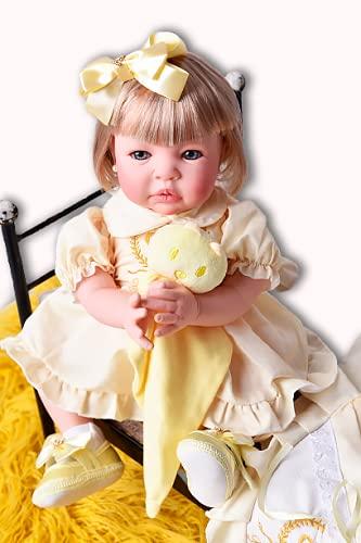 Bebe Reborn Menina Silicone Promoçao Princesa Boneca Cabelo Loiro Poa Amarela BK + Bolsa Maternidade