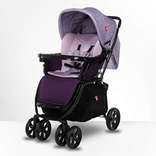 KHUY Cochecito de bebé del Cochecito de niño del Carro cochecitos, 3en1 bebé for el niño Strolllers cochecillo Cochecito for niños, cómodos, cochecitos de Lujo añaden Pie Cubierta (Color : Purple)