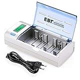 EBL 906 Caricabatterie Universale per AA e AAA C D e 9V Ni-MH Batterie Ricaricabili, Caricatore Batterie con LCD Display Retroilluminato