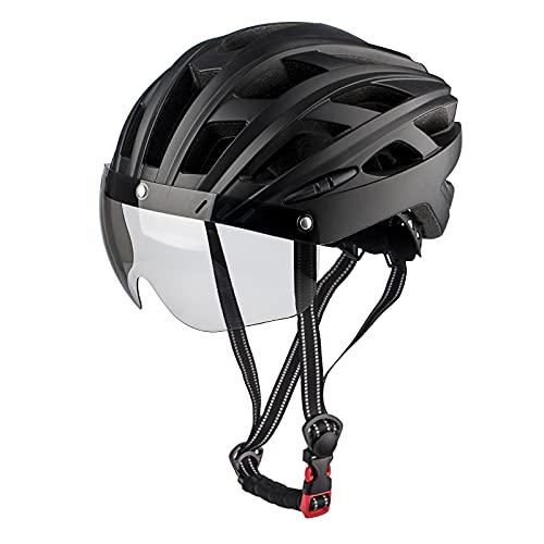 MOKFIRE Fahrrad Fahrradhelme Erwachsene Fahrradhelm Mountain Road Bike Helm mit Safty hinten Led Licht und abnehmbare magnetische Brille Einstellbare Größe für Männer und Frauen 22.44-24.41 Zoll