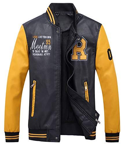 YYZYY Herren Herbst Winter Kunstleder Jacke PU Leder Varsity College Jacke Baseball Bomber Stehkragen Mantel Men's Leather Jacket (EU/DE XX-Large, Gelb)