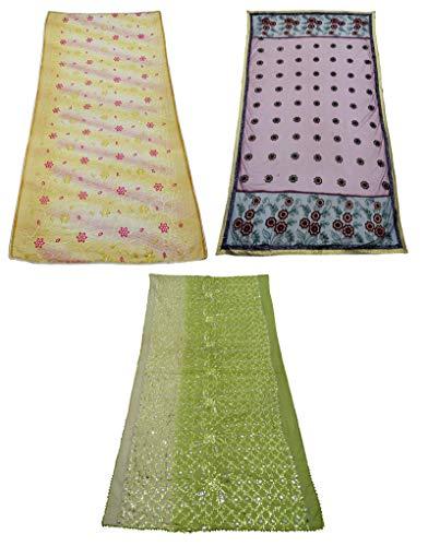 PEEGLI Paquete Combinado De 3 Piezas De Tela Mixta India Dupatta Tela Vintage Multicolor Bordada Estola Ropa De Mujer Bufanda Tradicional