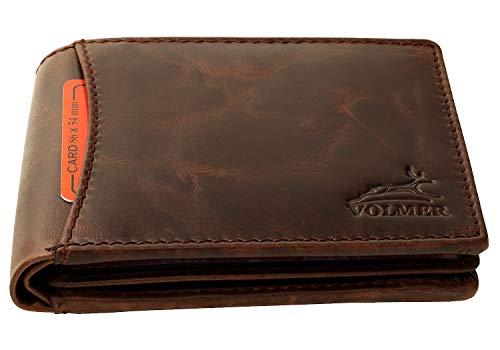 Fa.Volmer ® Herren Leder Geldbörse Usedlook mit RFID-Schutz Braun #MW82A-Braun