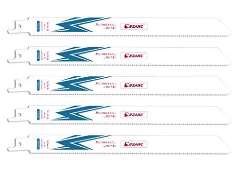 EZARC Reciprocating Saw Blade Bi-Metal Cobalt Sabre Saw Blades for Metal Cutting 9-Inch 14TPI R922PM (5-Pack)