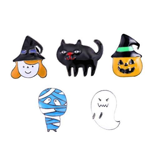 Amosfun 5 Stück kreative Halloween-Brosche Cartoon Spooky Kürbis Mummy Boutonniere