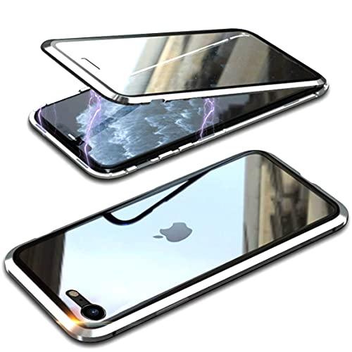 Cover per iPhone SE 2020   iPhone 8 Custodia Magnetica 360 Gradi Antiurto Trasparente Case con Protezione Integrata dello Schermo Cornice Metallica Rugged Armor, Argento