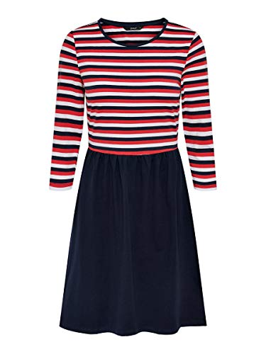 ONLY Damen Onlamber Amy 3/4 AOP Dress JRS Kleid, Mehrfarbig (Night Sky Stripes:RED/White), Small (Herstellergröße:S)