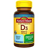 Nature Made Extra Strength Vitamin D3 5000 IU (125 mcg) Softgels, 180 Count for Bone Health