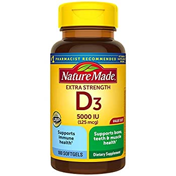 Nature Made Extra Strength Vitamin D3 5000 IU  125 mcg  Dietary Supplement for Immune Support 180 Softgels 180 Day Supply