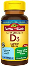 Nature Made Extra Strength Vitamin D3 5000 IU (125 mcg), 180 Softgels Value Size, High Potency Vitamin D Helps Support Immune Health, Strong Bones and Teeth, & Muscle Function