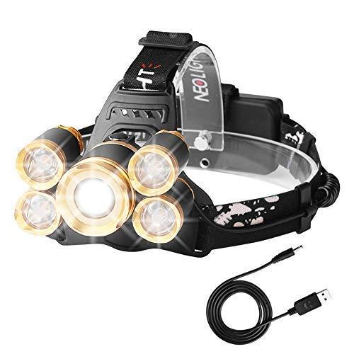 Lampe frontale à LED haute visibilité, rechargeable sur USB, étanche,mise au point réglable 4modes, pour camping, pêche, chasse, randonnée, course à pied, marche, cyclisme, doré