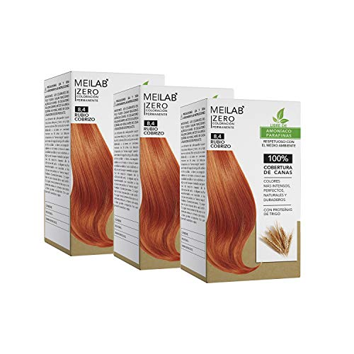 MEILAB - Coloration cheveux sans ammoniaque - Lot de 3 unitès - Blond clair cuivré #8-4