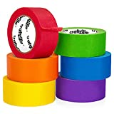 Craftzilla Colored Masking Tape – 6 Roll Multi Pack – 180 Feet x 1 Inch of Colorful Craft Tape – Vibrant Rainbow Colored Painters Tape – Great for Arts & Crafts, Labeling and Color-Coding