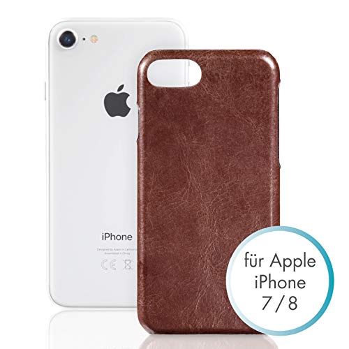 PAZZiMO Handyhülle kompatibel mit iPhone SE 2020, iPhone 8/7 Hülle, Ultra dünnes Leder-Hülle, Schutzhülle aus echtem Leder, braun