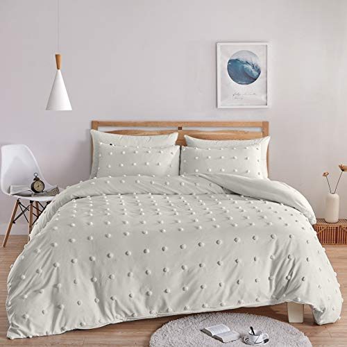 "BEDAZZLED Tufted Duvet Cover, Dots Ultra-Soft Overfilled Down Alternative All Season Bedding-Set (White1#, Queen/Full (90""x90""))"