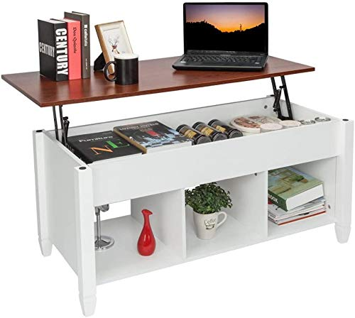 DANGRUUT Upgraded Version Lift Top Coffee Table, Best Thicken Wood End Table, Lift Tabletop Storage Coffee Table with Hidden Storage Compartment, Modern Classic Home Living Room Furniture (White)