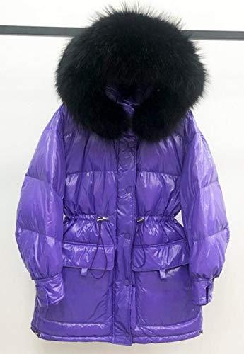 LMHCHK 2020 Nueva Chaqueta Holgada de Invierno 90% de plumón Blanco para Mujer, Abrigo de plumón Impermeable con Capucha cálido, Parka de plumón para Mujer, Negro3, M