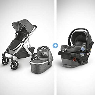 UPPAbaby Vista V2 Stroller - Jordan (Charcoal Melange/Silver/Black Leather) + Mesa Infant Car Seat - Jordan (Charcoal Melange) Merino Wool