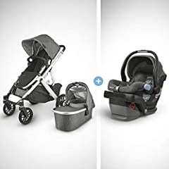 Bundle includes: Full VISTA V2 stroller, 1 MESA Infant Car seat Enjoy a softer ride of the VISTA V2 pushing one child (or three) over any ground surface thanks to a new spring-action all-wheel suspension and slightly softer tires The toddler seat has...